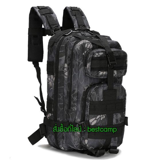 เป้ทหาร 3P,กระเป๋าเป้เดินทางท่องเที่ยว,ลายพราง,ลายเปลือกไม้สีดำ