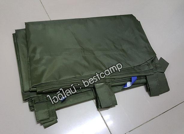 ผ้าฟลายชีทกันน้ำ,ผ้าใบกันน้ำ,ผ้า Fly sheet, ลายพราง 4 x 6 สีเขียว