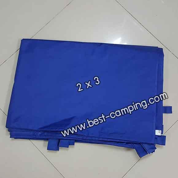 ผ้าฟลายชีทกันน้ำ,ผ้าใบกันน้ำ,ผ้า Fly sheet, ลายพราง 2 x 3 สีน้ำเงิน
