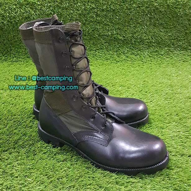 รองเท้าจังเกิ้ลสีเขียว,BOOTS,HOT WEATHER,Green Nylon and Leather