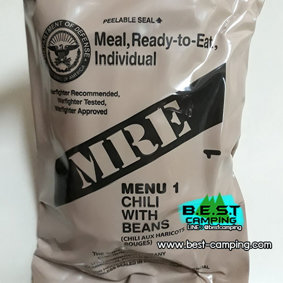 MRE MENU1,CHILI WITH BEANS,อาหารเดินป๋า,อาหารทหาร,อาหารฉุกเฉิน