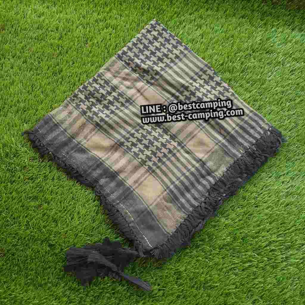 ผ้าชีมัคสีเขียวโอดีกรีนลายใหญ่,ผ้าพันคอ , Shemagh
