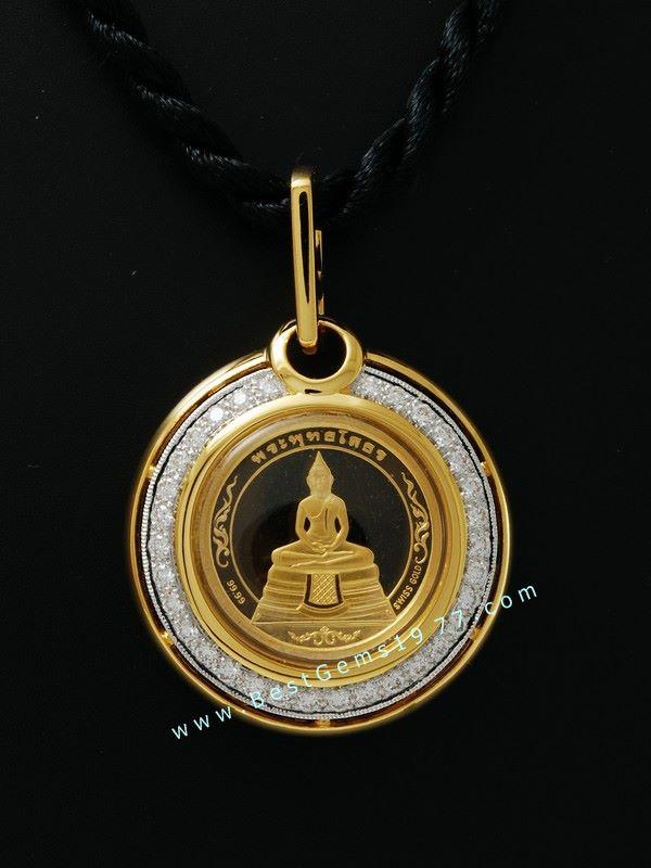 M735-2618 เหรียญหลวงพ่อโสธร หลังพระพุทธชินราชทองสวิส99.99 ในตลับกันน้ำ