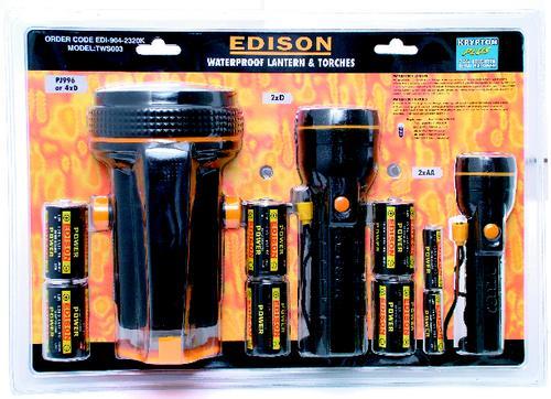 ชุด ไฟฉาย 3 Piece Waterproof Lantern and Torch Set - with Batteries