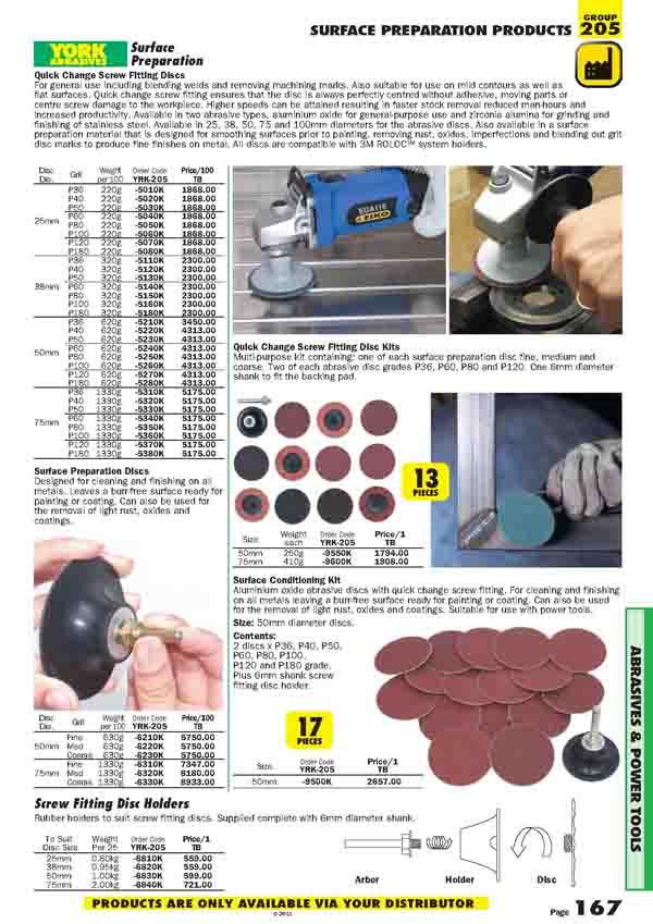 เครื่องมือช่างหมวด SURFACE PREPARATION PRODUCTS หน้า 167