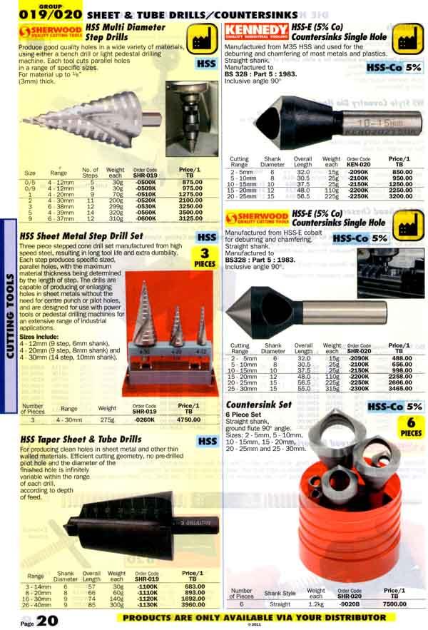 เครื่องมือช่างหมวด SHEET and TUBE DRILLS/COUNTERSINKS หน้า 20