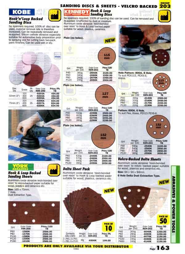 เครื่องมือช่างหมวด SANDING DISCS and SHEETS - VELCRO BACKED หน้า 163