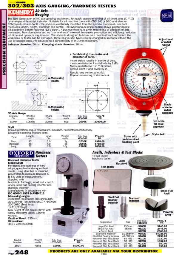 เครื่องมือช่างหมวด AXIS GAUGING/HARDNESS TESTERS หน้า 248