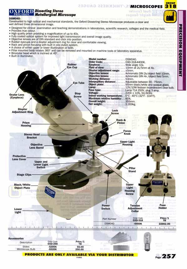 เครื่องมือช่างหมวด MICROSCOPES หน้า 257