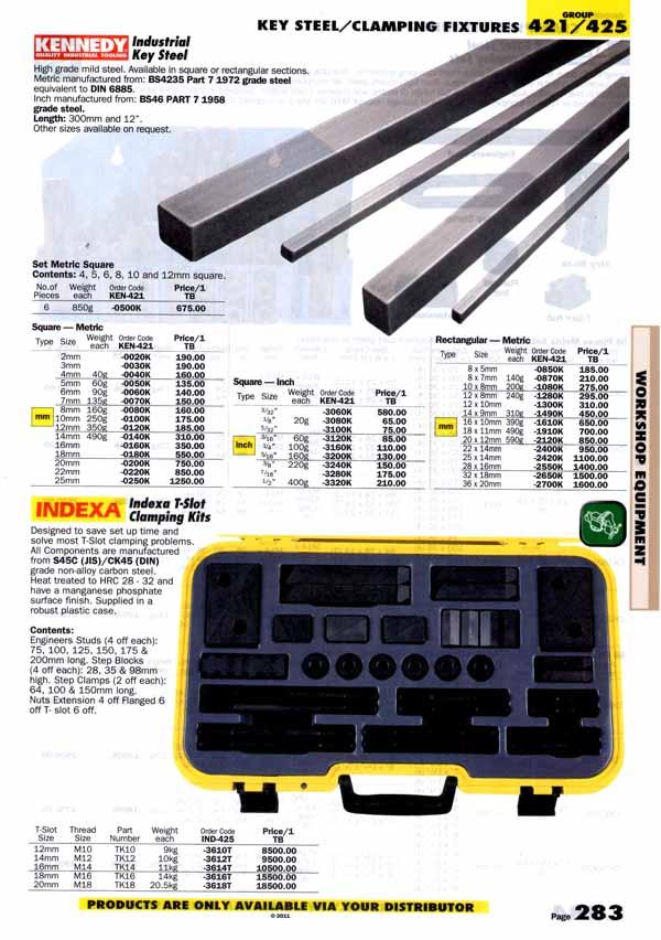 เครื่องมือช่างหมวด KEY STEEL/CLAMPING FIXTURES หน้า 283