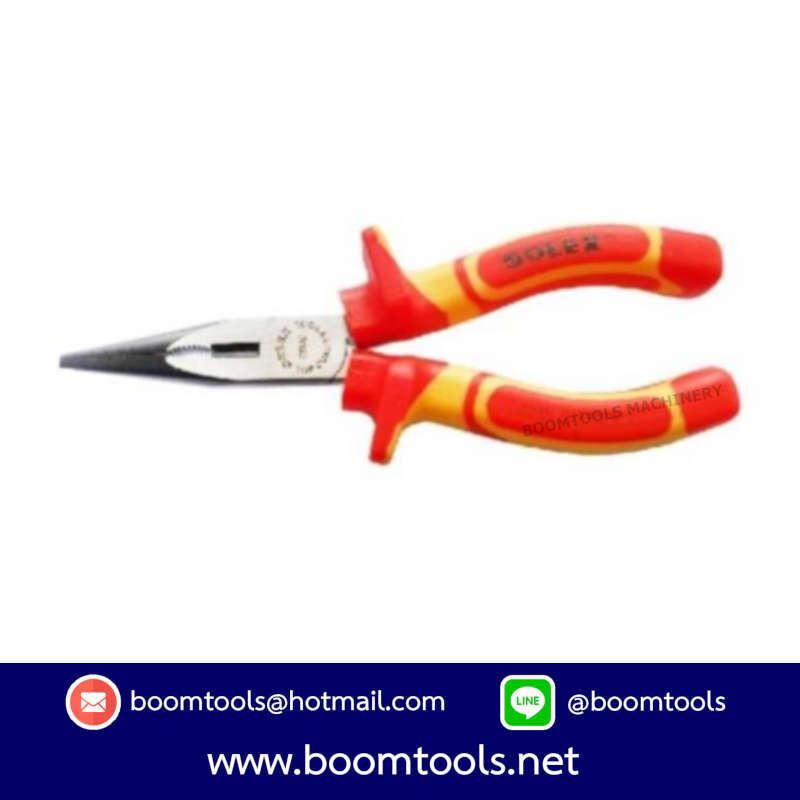 คีมปากแหลม VDE 6นิ้ว SOLEX 012212