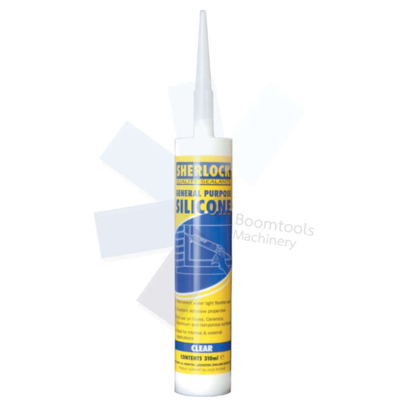 Sherlock Sealants.Clear Silicone Sealant Cartridge 310ml