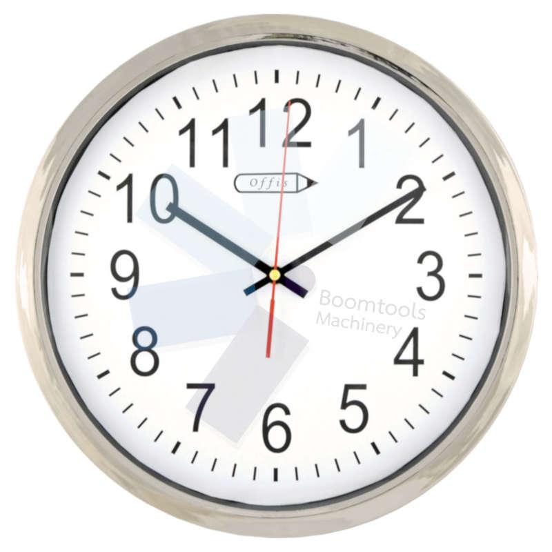 Offis.14in. CHROME BATTERY CLOCK