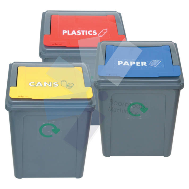 Offis.Pack of 3 Recycling Bins - 54 Litres