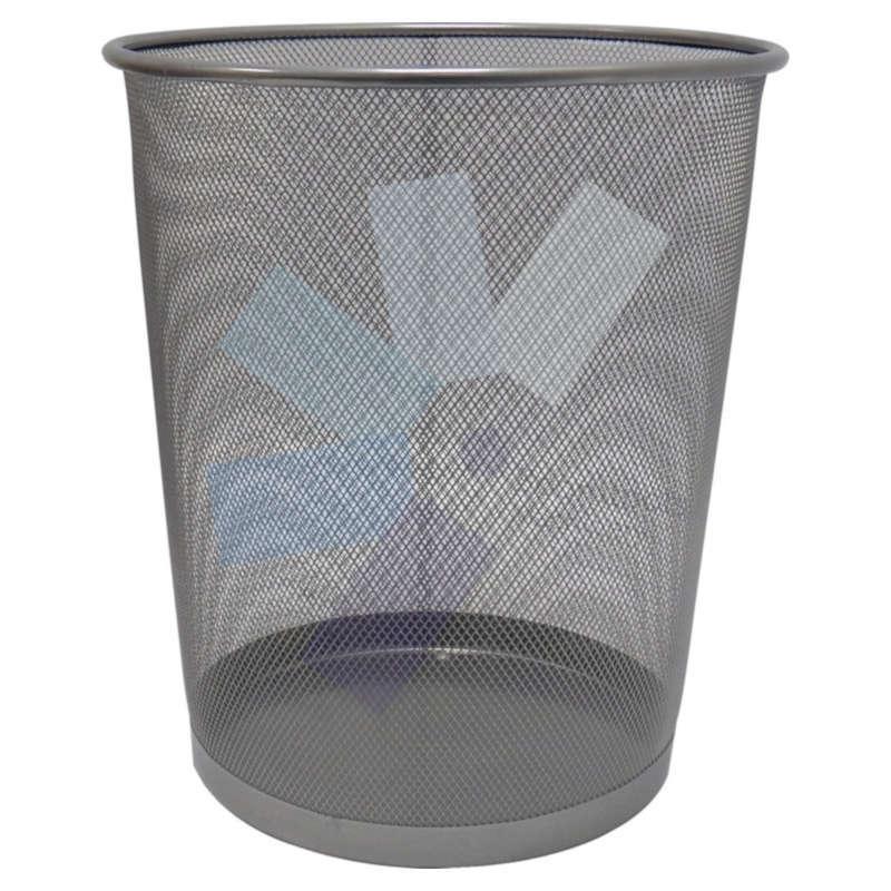 Offis.Mesh Silver Waste Bin - 15 Litre