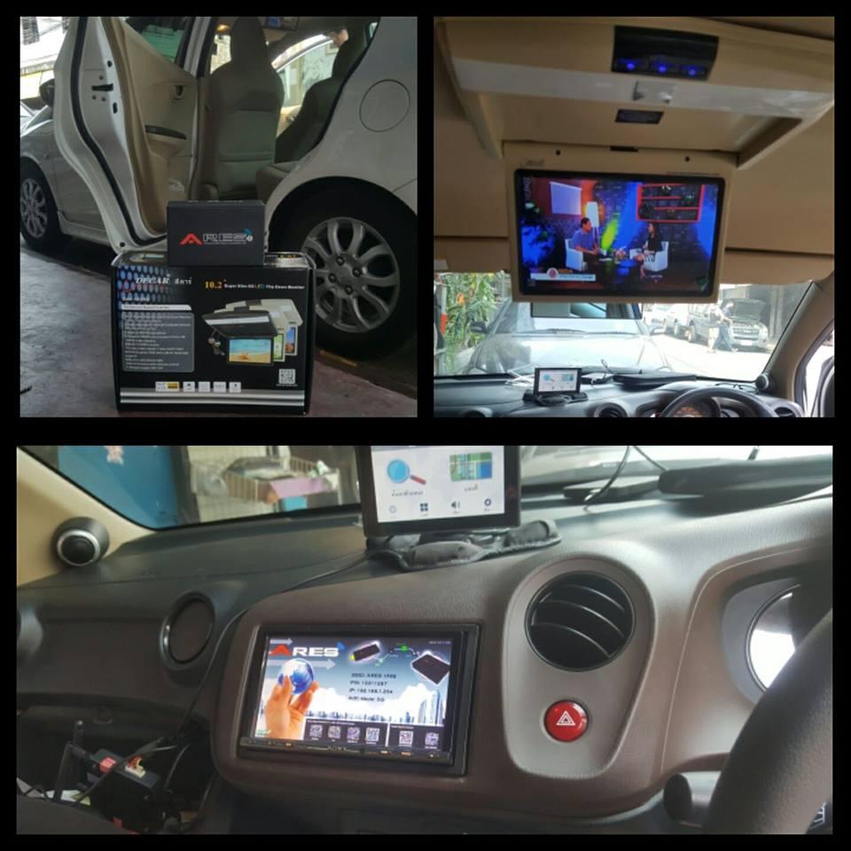 HONDA AMAZE รถเล็กพลังจิ๋วแต่แจ๋ว ใส่จอเพดานให้เจ้าตัวน้อยดูดีวีดีได้ เสริมกับกล่อง wifi dongle ARES