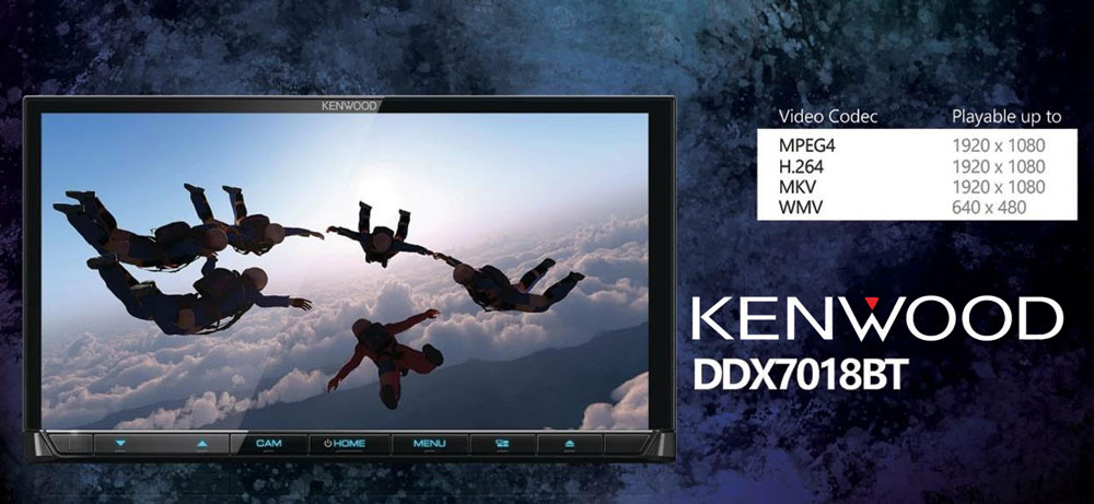 KENWOOD DDX7018BT รุ่นใหม่ปี2018 ออกตัวแรงส์ มีตัวเล่นแผ่น อ่านไฟล์ได้เพียบทั้ง MPEG4และMKV,flac,wav