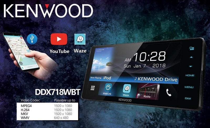 KENWOOD DDX718WBTหน้าจอCAPACITIVE รุ่นกว้าง200มิล.ใหม่ปี2018มีตัวเล่นแผ่น อ่านMPEG4และMKV,flac,wav