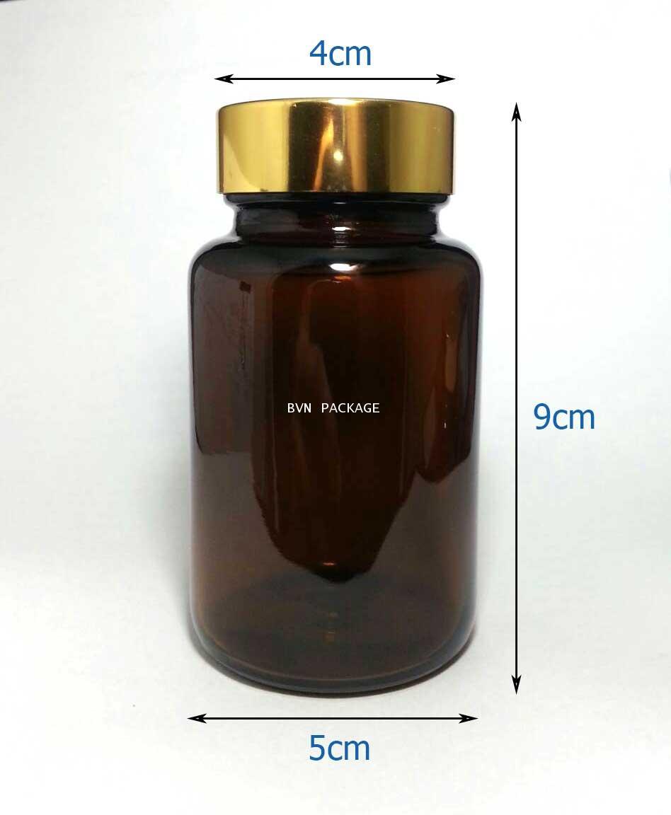 ขวดแก้ว E90 สีชา ฝาทอง