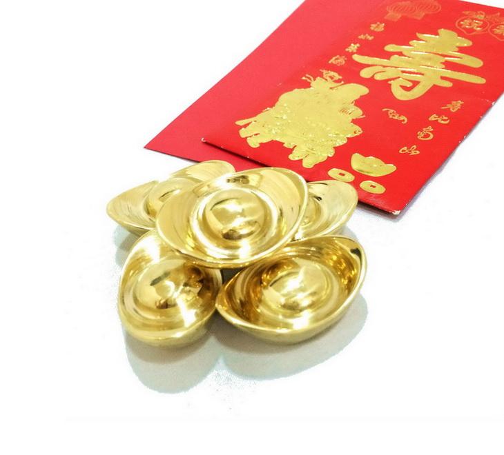 เงินจีน ทำด้วยทองเหลืองแท้ 5 ก้อน 1