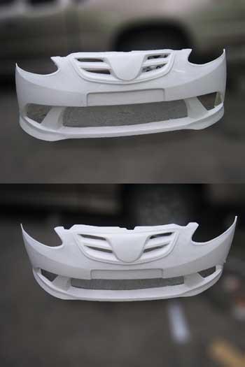 กันชนหน้าเต็มงานไฟเบอร์ทรง Nobless Sport สำหรับ Mazda2
