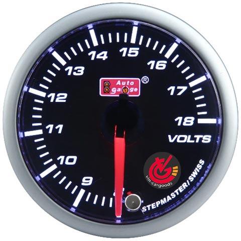 เกจ์Volt Auto-gauge 60mm (SMOKE)มีเสียง 2สี ต่อชิพไลท์ได้