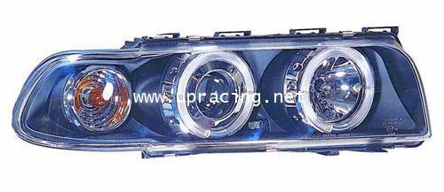 ไฟหน้าโปรเจคเตอร์วงแหวน LED โคมดำ E38(95-98)