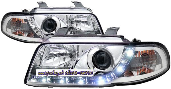 ไฟหน้าโปรเจคเตอร์ AUDI A4 95-00 ขาว มุมติด LED ยาว