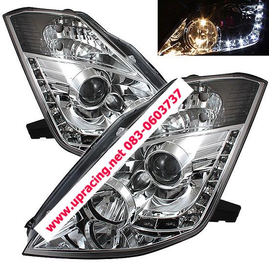 ไฟหน้าโปรเจคเตอร์ NISSAN 350Z 03-08 ขาว LED ยาว