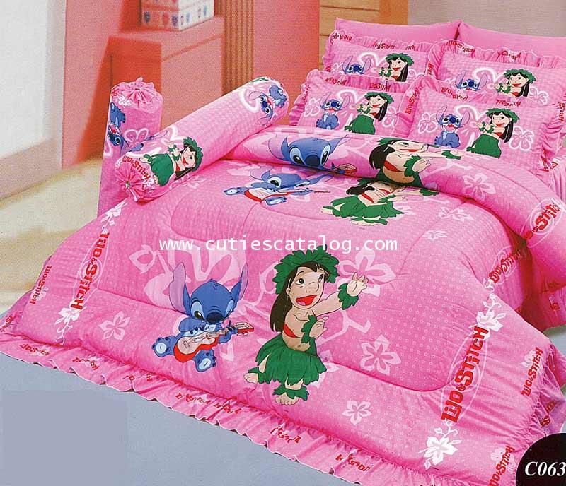 ชุดเครื่องนอน ลายลีโล่ และสติช(สีชมพู)เตียงคู่ 5/6 ฟุต