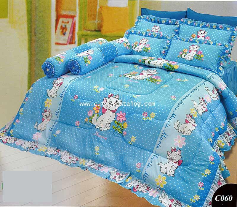 ผ้าปูที่นอน ลายแมรี/แมวมาลี(สีฟ้า)เตียงคู่ 5/6 ฟุต (Marie)