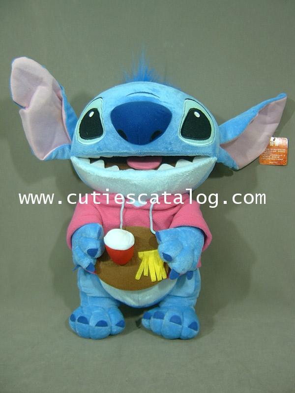 ตุ๊กตาสติช 18 นิ้ว (Stitch Doll) แบบยืนถือถาด เสื้อชมพู