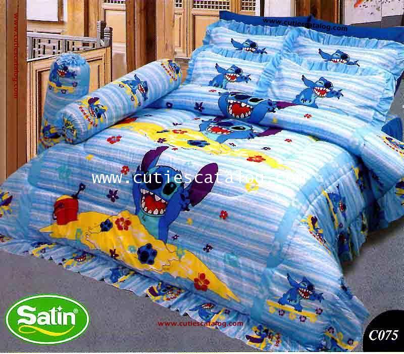 ชุดผ้าปูที่นอน ลายลีโล่ และสติช(สติชยิ้ม) เตียงคู่ 5/6 ฟุต