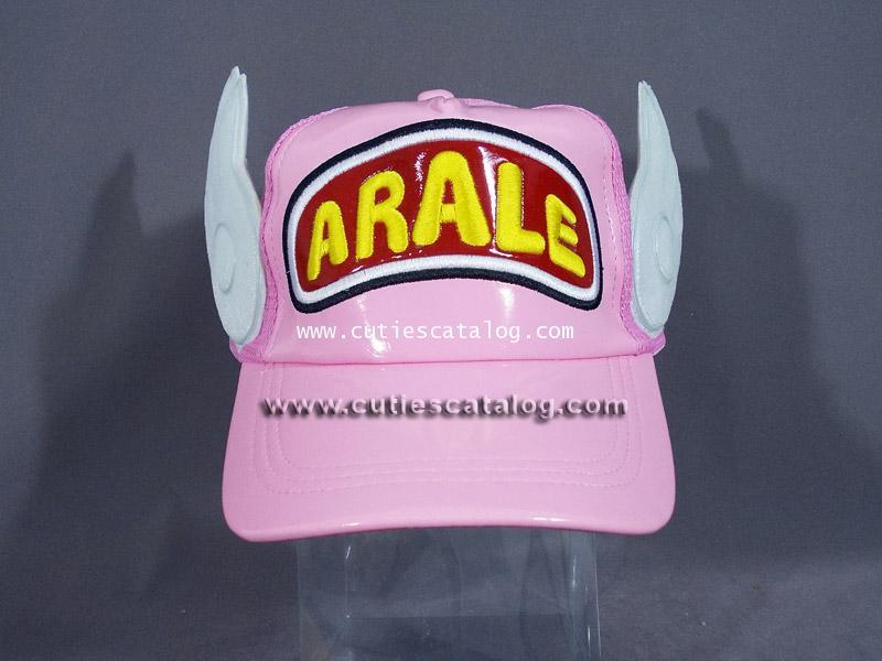 หมวกอาราเล่ Arale cap แบบหนังแก้ว สีชมพู