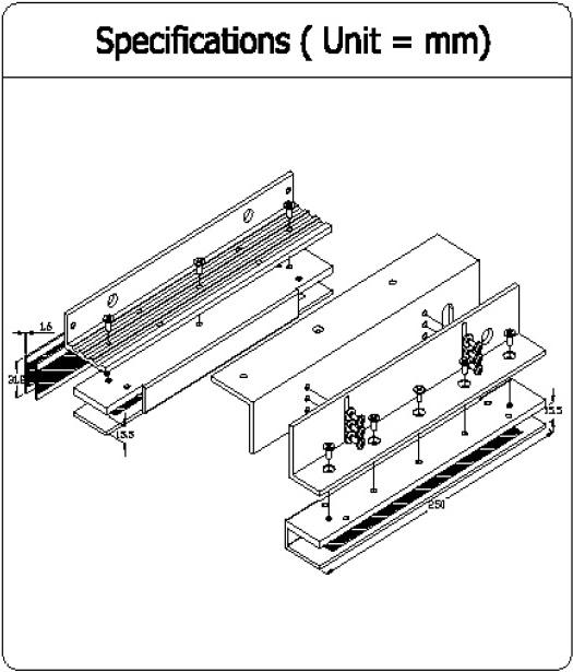 EM Lock Bracket DSU-600 ครอบกระจกสำหรับกลอนประตูไฟฟ้า ช่องว่าง น้อยกว่า 4 มิล ใส่ได้ 1