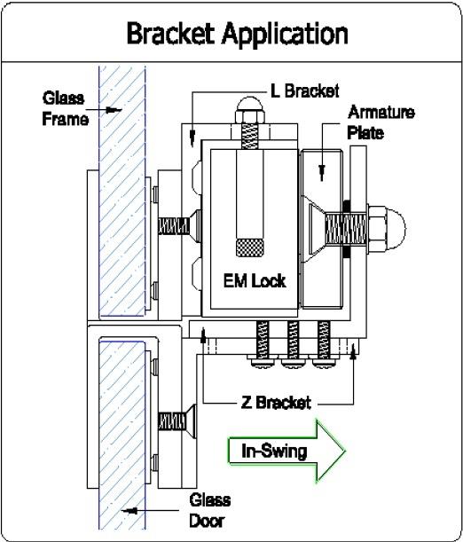 EM Lock Bracket DSU-600 ครอบกระจกสำหรับกลอนประตูไฟฟ้า ช่องว่าง น้อยกว่า 4 มิล ใส่ได้ 2