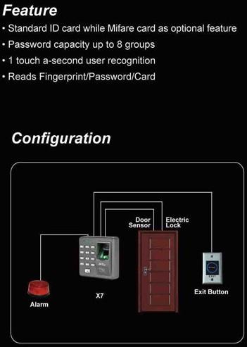 x7 scan fingerprint ZKSoftware เครื่องสแกนลายนิ้วมือและกดรหัสผ่าน 4