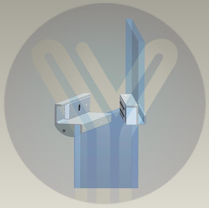 ชุดครอบกระจกบานเปลือยแม่เหล็กคีย์การ์ด 600ปอน์ด ใช้งานได้กับกระจกที่มีช่องว่างห่างประมาณ 1 เซนติเมตร 3