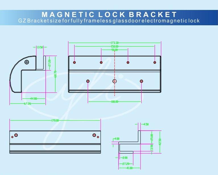ชุดครอบกระจกบานเปลือยแม่เหล็กคีย์การ์ด 600ปอน์ด ใช้งานได้กับกระจกที่มีช่องว่างห่างประมาณ 1 เซนติเมตร 4