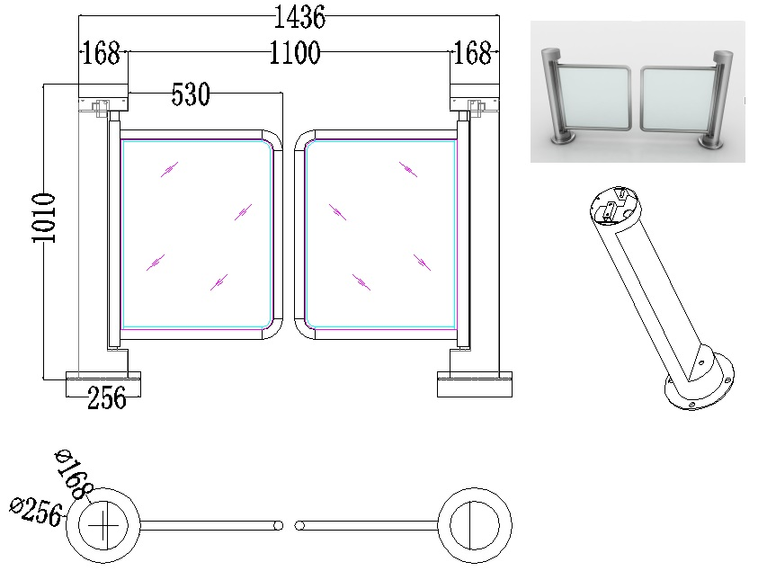 ประตูสวิง ไม่ใช้ไฟฟ้า สแตนเลสสติลเกรด 304 กันน้ำ กั้นคนเข้าออกได้ 1