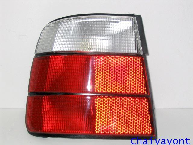 ไฟท้ายซ้ายชุดแต่งสีขาว-แดง รุ่นตราเพชร สำหรับรถ BMW E34 525i Series 5