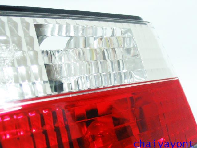 ชุดแต่งทับทิมไฟท้ายเพชร คริสตัล ขาว-แดง ด้านซ้าย รถบีเอ็มดับบลิว BMW E34 518i 520i 525i 530i M43 M50 8