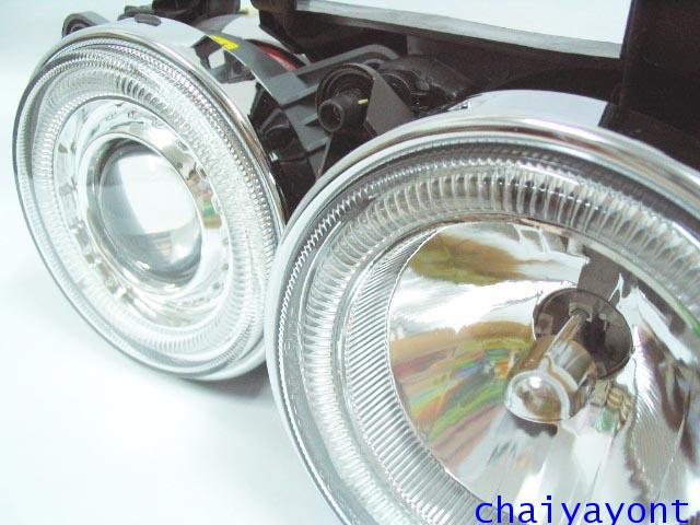 ชุดแต่งรถไฟหน้า RH วงแหวนโดนัท Projector รถบีเอ็ม BMW E34 518i 520i 525i 530i M43 M50 M5 Serires 5 6