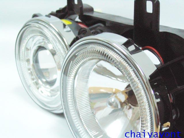 ชุดแต่งรถไฟหน้า RH วงแหวนโดนัท Projector รถบีเอ็ม BMW E34 518i 520i 525i 530i M43 M50 M5 Serires 5 7