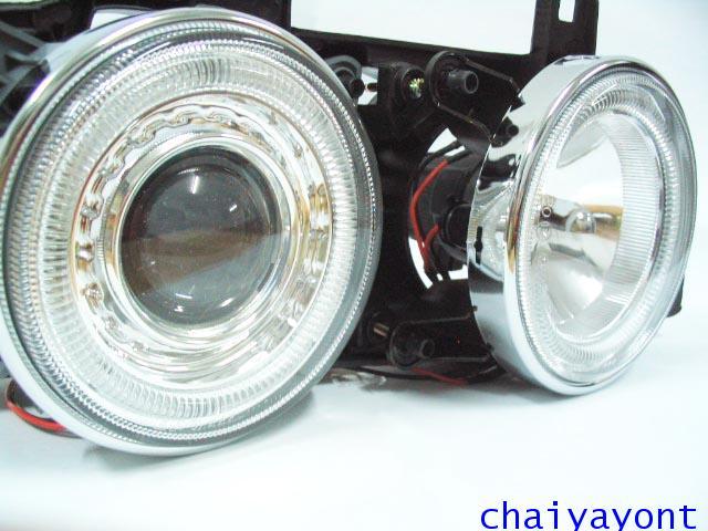 ชุดแต่งรถไฟหน้า RH วงแหวนโดนัท Projector รถบีเอ็ม BMW E34 518i 520i 525i 530i M43 M50 M5 Serires 5 16