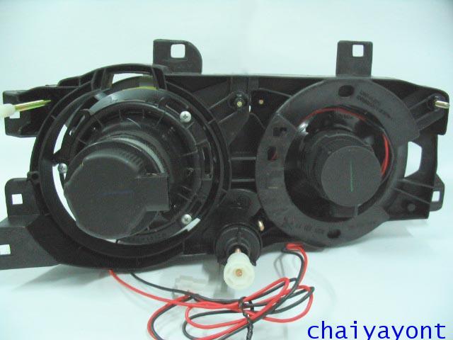 ชุดแต่งรถไฟหน้า LH วงแหวนโดนัท Projector รถบีเอ็ม BMW E34 518i 520i 525i 530i M43 M50 M5 Serires 5 12