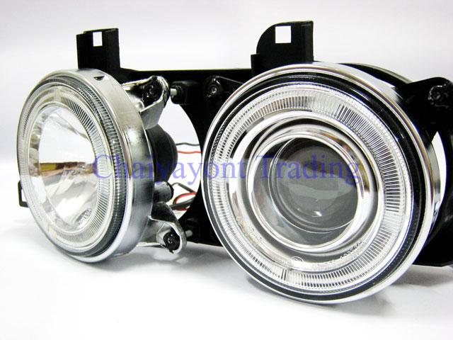ชุดแต่งรถไฟหน้า LH วงแหวนคู่ CCFL Projector Clear Angel Eye Chrome Type BMW E34 518i 520i 525i 1