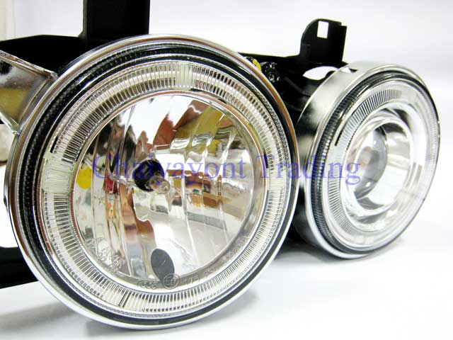 ชุดแต่งรถไฟหน้า LH วงแหวนคู่ CCFL Projector Clear Angel Eye Chrome Type BMW E34 518i 520i 525i 2
