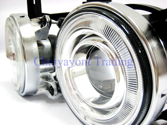 ชุดแต่งรถไฟหน้า LH วงแหวนคู่ CCFL Projector Clear Angel Eye Chrome Type BMW E34 518i 520i 525i 3