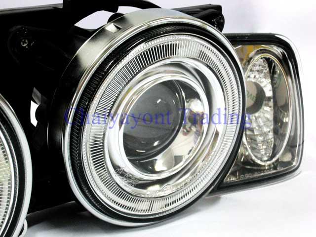 ชุดแต่งรถไฟหน้า LH วงแหวนคู่ CCFL Projector Clear Angel Eye Chrome Type BMW E34 518i 520i 525i 6